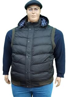больших размеров мужские зимние жилетки с капюшоном